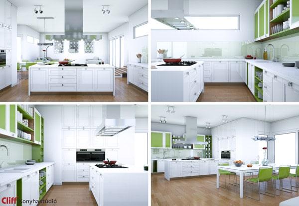 Zöld modern konyha elrendezés típusok - Cliff konyhabútor
