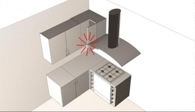 Konyhatervezés szabályok - páraelszívó elhelyezése - Cliff konyhabútor