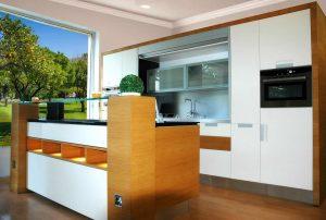 Barna modern konyhabútor - Palace modern konyha kiállításon - Cliff konyhák Sopron
