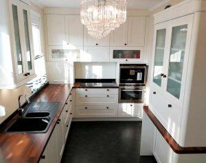 U alakú konyha - fehér vintage konyha - Cliff konyhabútor 10