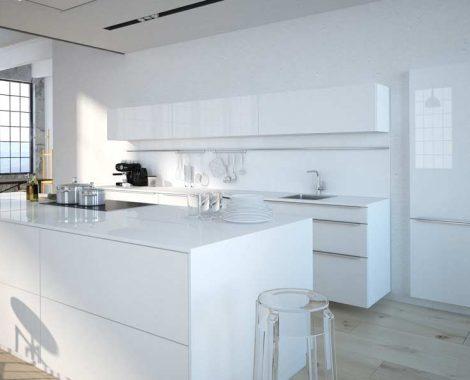 Fehér fényes modern konyhabútor - Carmel modern konyha - Cliff konyhák Sopron