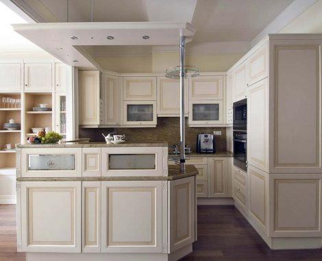 Fehér Vintage konyha - Hermon konyhabútor G alakban - Cliff konyhák Sopron